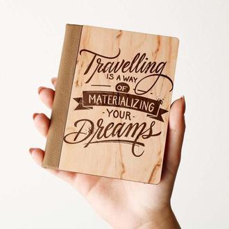 """Деревяная обложка на паспорт """"TRAVELLING"""" , паспортная обложка, обложка для паспорта с дерева"""
