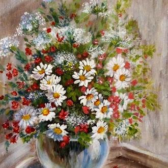 """Живопись Картина акрилом """"Полевые ромашки"""", цветы, 18 х 24 см"""