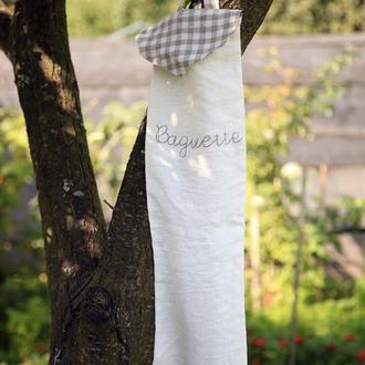 Льняной мешочек для хранения багета, с вышивкой.