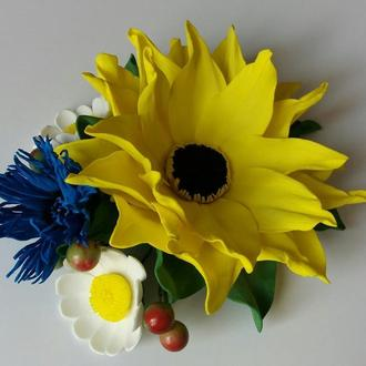 """Заколка """"Соняшник"""" #2 , квіти з фоамірану, в українському стилі"""