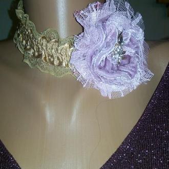 Ожерелье чокер в стиле Бохо Шик с цветком Пыльная розаПодарок для женщины