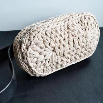 Женская сумка на пояс, бежевая женская сумочка на пояс, вязанная котомка сумка