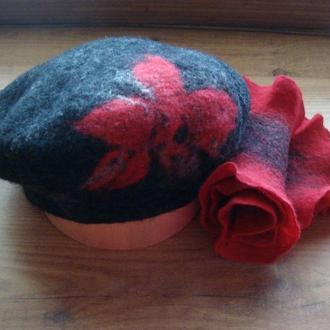 """Валяные шапка и шарф """"Красное и серое"""" изготовлены вручную из мериносовой австралийской шерсти"""