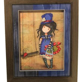 """Картина из серии """"Gorjuss"""" синяя девушка с корзиной тюльпанов"""
