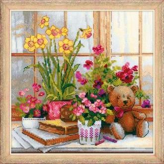 Набір для вишивання хрестом «Нарциси на віконці»