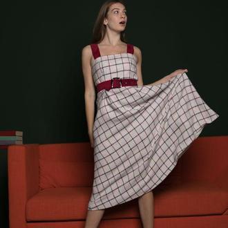 Платье в клетку из твида