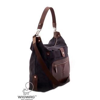 Женская сумка из натуральной кожи и канваса серый графит