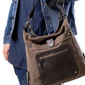 Женская сумка-трансформер из канваса и натуральной кожи