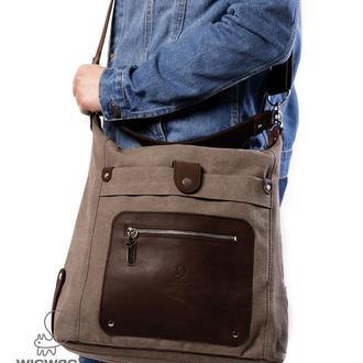 Женская сумка-рюкзак, сумка через плечо из канваса и натуральной кожи