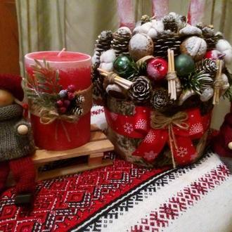 Рождественские композиции , подсвечники, елочки