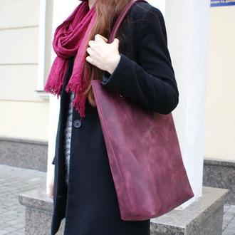Женская сумочка на плечо бордового цвета
