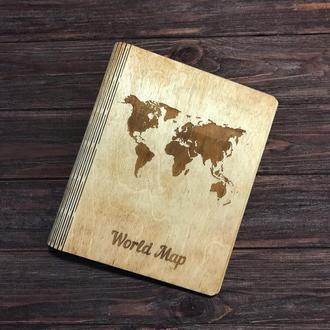 Деревянный блокнот. Блокнот с деревянной обложкой. Карта мира.