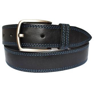 Robert кожаный мужской ремень черный пояс классический с синей строчкой для джинсов подарок мужчине