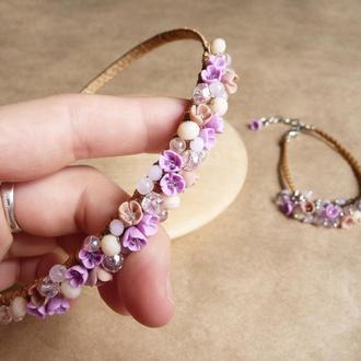 Нежно розовый обруч и браслет с цветами, подарок девочке, украшение для волос, комплект украшений