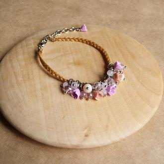 Нежно розовый браслет с цветами, украшение на руку, подарок девочке