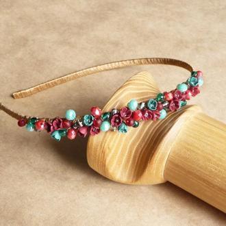 Красно бирюзовый обруч с цветами, подарок девочке, украшение для волос