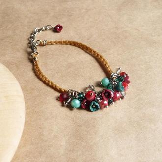 Красно бирюзовый браслет с цветами, украшение на руку, подарок девочке