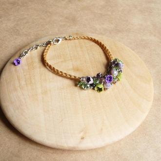 Фиолетовый браслет с цветами, украшение на руку, подарок девочке