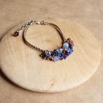 Синий браслет с цветами, украшение на руку, подарок девочке