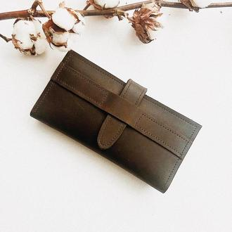 Кожаный кошелек для девушки, длинный портмоне из натуральной кожи.