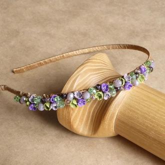 Фиолетовый обруч с цветами, подарок девочке, украшение для волос