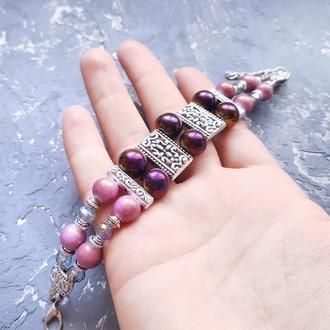 Браслет двухрядный в сиренево-розовой палитре браслет жемчужный хамелеон