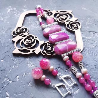 Весняна колекція комплект з натуральних агатів та перлів розовый браслет из натуральных камней