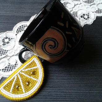 "Брошь ""lemon slice"" - hand made"