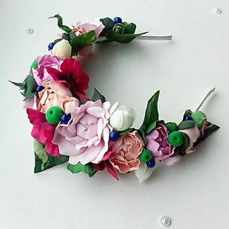 Венок с цветами, цветочный ободок для волос.
