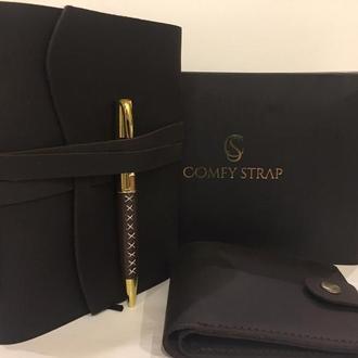 Блокнот с ручкой для заметок рисования и бумажник кожаный в подарок