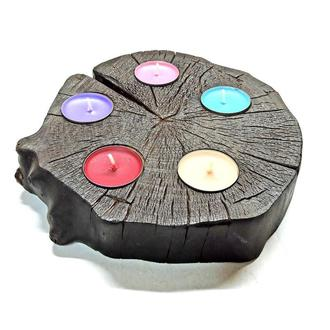 Подсвечник Спил чёрный 5 аромасвечей