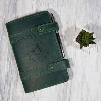 Кожаный блокнот «Цветок» со сменным блоком