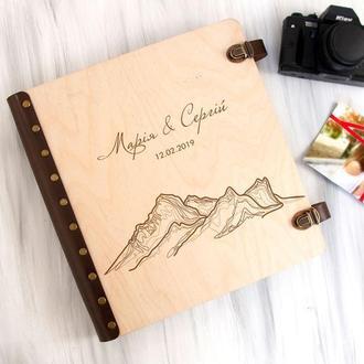 Свадебный альбом для фотографий с индивидуальной гравировкой «Горы» с магнитными страницами