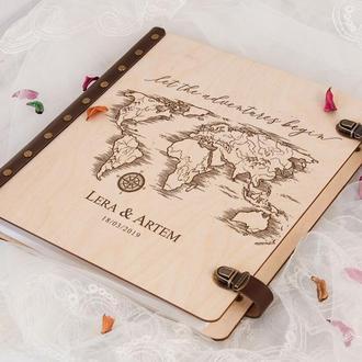 Деревянный фотоальбом с магнитными листами «Begin Travel», подарок для влюбленных
