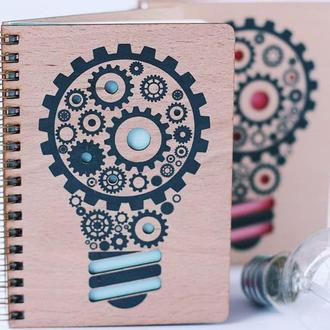 Блокнот в дерев'яній обкладинці / записник / скетчбук / блокнот А6