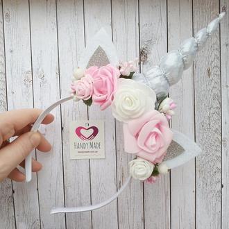 Единорожка ободок бело-розовый