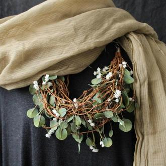 Украшение из холодного фарфора, фоамирана. Цветы и листья