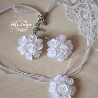 """Серьги и кулон с цветами """"Белые розы"""""""