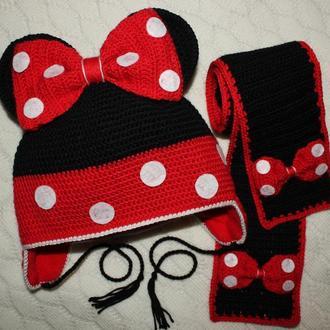 "Шапочка ""Мики Маус"" + шарфик. Набор из шапки и шарфика. Зимняя шапка. Теплая шапка"