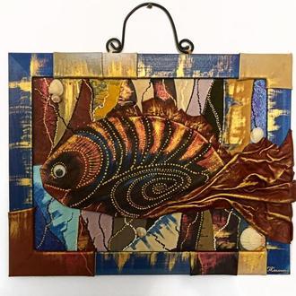 """Картины панно """"Рыба в морской пучине""""Купить картину.Картина в подарок.Ручная работа.Картина из кожи."""