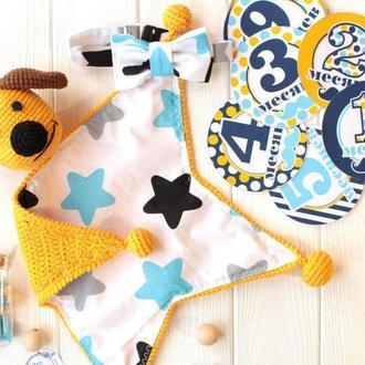 """Подарочный набор сплюшка """"Желтая собачка"""" с наклейками для фотосессии"""