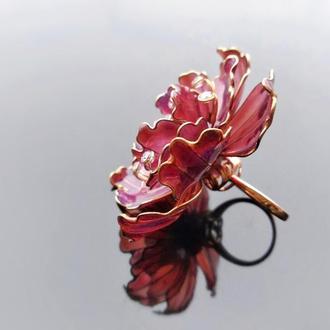 Большое коктейльное кольцо с цветком пиона