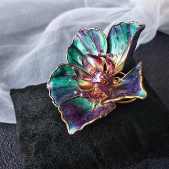 Большое коктейльное кольцо с цветком