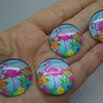 Фламинго стеклянный кабошон
