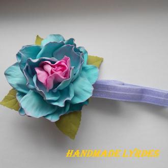 Повязочка с розой для малышки