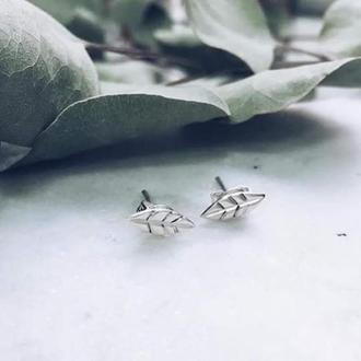 """Серьги гвоздики серебряные """"Листочки"""""""