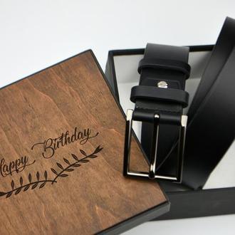 Солидный подарок начальнику, подарок мужчине, Именной кожаный ремень, Кожаный ремень с гравировкой