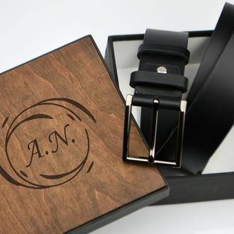 Подарок начальнику ремень, Кожаный именной ремень, Оригинальный подарок мужчине , подарок мужу