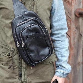 Стильная мужская сумка через плечо из натуральной кожи