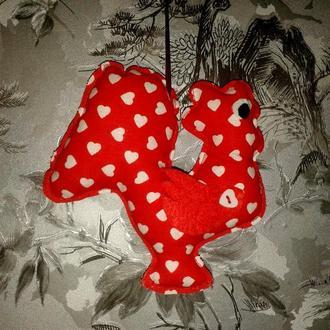 Елочная игрушка - украшение Петушок ручной работы, красный в сердечко